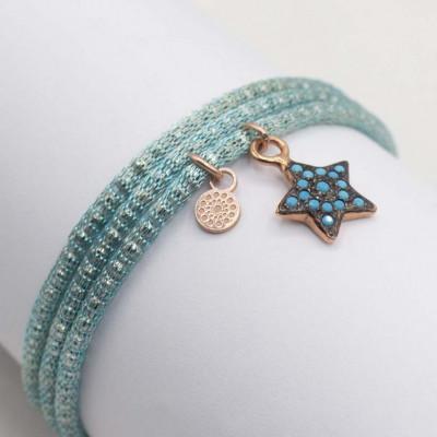 Alisei Bracciale Tessuto Metallo Azzurro Stella