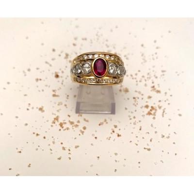 Anello Oro Giallo Fascia Brillanti Rubino