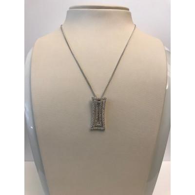 Collier Chimento Oro Bianco Doppia Piastra con Diamanti