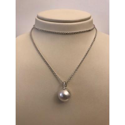 Collier Mikimoto Oro Bianco con Diamanti e Perla