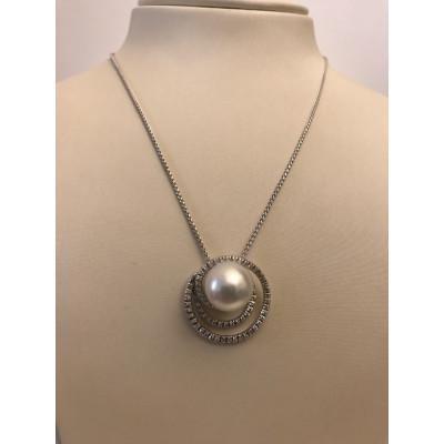 Collier Recarlo Oro Bianco con Diamanti e Perla
