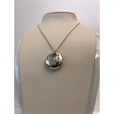 Collier Recarlo Oro Bianco Tondo Con Diamanti
