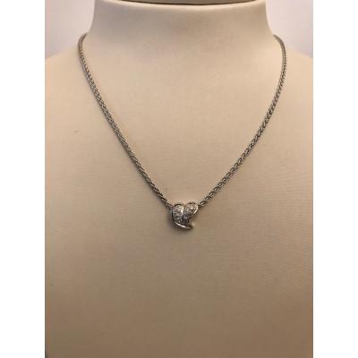 Collier Oro Bianco Cuore con Diamanti