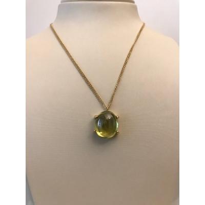 Collana Oro Giallo con Quarzo Ovale Verde