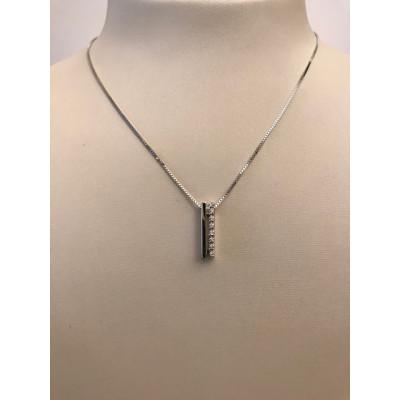 Collier Oro Bianco Barra Lucida con Diamanti