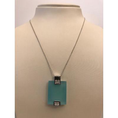 Collier Oro Bianco Calcedonia azzurra e Diamanti