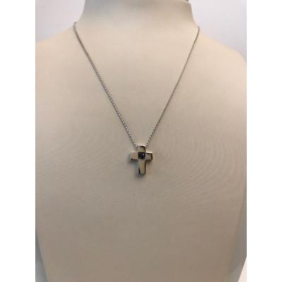 Collier Oro Bianco Croce con Zaffiro