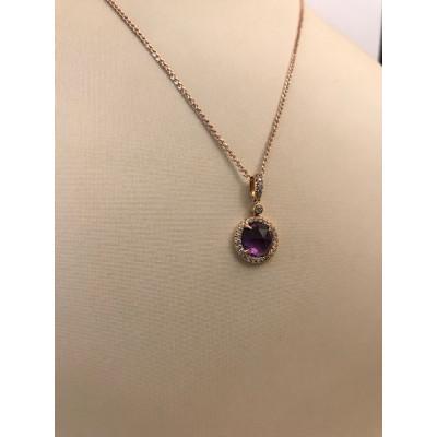 Collier Oro Bianco Con Diamanti e Ametista