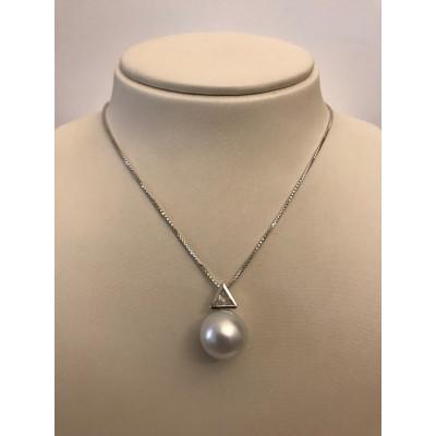 Collier Oro Bianco con Diamanti e Perla Australiana