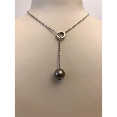 Collier Oro Bianco con Diamanti e Perla Nera