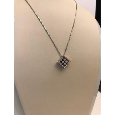 Collier Oro Bianco Con Diamanti Rombo
