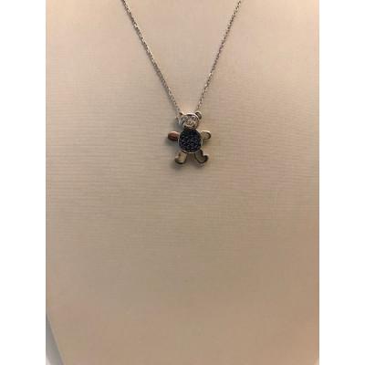 Collier Oro Bianco Orso con Diamanti e Zaffiri