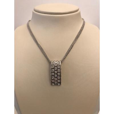 Collier Oro Bianco Piastra con Diamanti