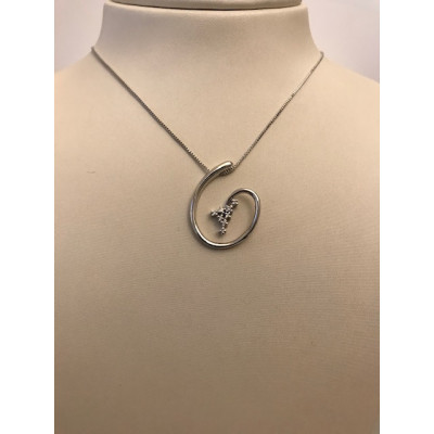 Collier Oro Bianco Spirale Con Diamanti