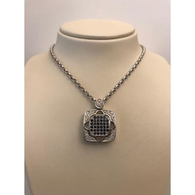 Collier Oro Bianco Zaffiri e Diamanti