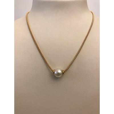 Collier Oro Giallo con Perla Scorrevole