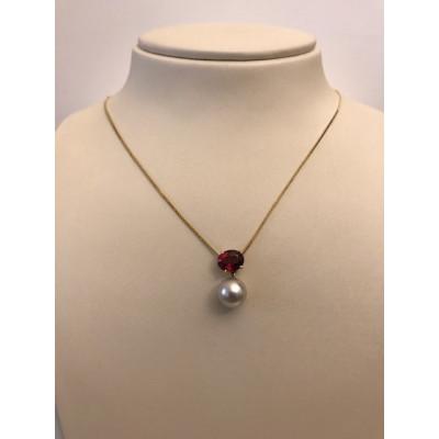 Collier Oro Giallo Perla Tormalina Rosa