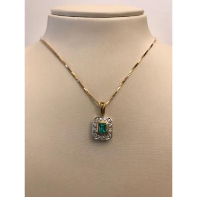 Collier Oro Giallo Con Smeraldo e Diamanti