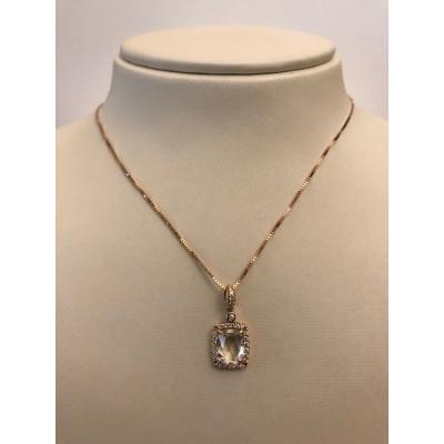 Collier Oro Rosa con Cristallo di Rocca e Diamanti